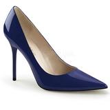 Bleu Verni 10 cm CLASSIQUE-20 escarpins à talon aiguille bout pointu