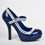 Bleu Verni 12 cm PINUP SECRET-15 Mary Jane Escarpins Haut Talon