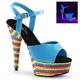 Bleu Verni 15 cm DELIGHT-609RBS Plateforme Neon Sandales Femmes