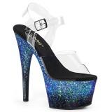 Bleu paillettes 18 cm ADORE-708SS chaussure à talons de pole dance