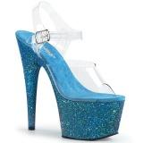 Bleu paillettes 18 cm Pleaser ADORE-708LG chaussure à talons de pole dance