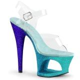 Bleu paillettes 18 cm Pleaser MOON-708OMBRE chaussure à talons de pole dance