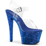 Bleu paillettes 18 cm Pleaser SKY-308LG chaussure à talons de pole dance