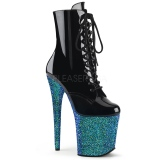 Bleu paillettes 20 cm FLAMINGO-1020LG bottines de pole dance