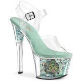 Bleu transparent 18 cm SKY-308CF chaussures de striptease