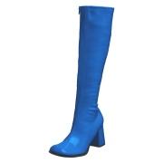 Bottes bleues en cuir verni années 70 - hippie disco gogo botte haute à talon carré 7,5 cm