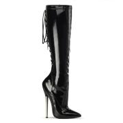 Bottes hautes talons aiguilles en métal 16 cm bottes pointues noires cuir verni