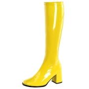 Bottes jaunes en cuir verni années 70 - hippie disco gogo botte haute à talon carré 7,5 cm