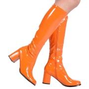 Bottes orange en cuir verni années 70 - hippie disco gogo botte haute à talon carré 7,5 cm