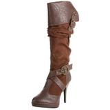 Brun 11,5 cm CARRIBEAN-216 plateformes bottes à boucles pour femmes