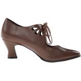Brun Mat 7 cm VICTORIAN-03 Escarpins Chaussures Femme