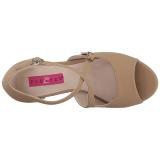 Brun Similicuir 10 cm DREAM-412 grande taille sandales femmes
