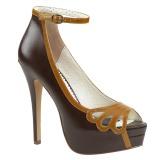 Brun Similicuir 13,5 cm BELLA-31 chaussures escarpins bout ouvert