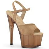 Brun Similicuir 18 cm ADORE-709T sandales pleaser plateforme