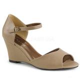 Brun Similicuir 7,5 cm KIMBERLY-05 grande taille sandales femmes
