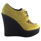 Brun Similicuir CREEPER-304 chaussures creepers compensées