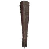 Brun Similicuir Mollets larges 13 cm CHLOE-308 bottes cuissardes jambes larges