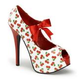 Cerise Blanc 14,5 cm TEEZE-25-3 Chaussures pour femmes a talon