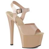 Chaussure beige talon haut plateforme 18 cm SKY-308N JELLY-LIKE matériau extensible