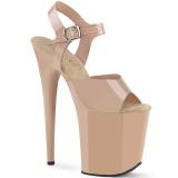 Chaussure beige talon haut plateforme 20 cm FLAMINGO-808N JELLY-LIKE matériau extensible