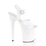 Chaussure blanc talon haut plateforme 20 cm FLAMINGO-808N JELLY-LIKE matériau extensible