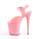 Chaussure roses talon haut plateforme 20 cm FLAMINGO-808N JELLY-LIKE matériau extensible