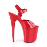 Chaussure rouge talon haut plateforme 20 cm FLAMINGO-808N JELLY-LIKE matériau extensible