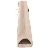 Creme Similicuir 12,5 cm EVE-102 grande taille bottines femmes