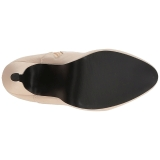 Creme Similicuir 12,5 cm EVE-106 grande taille bottines femmes
