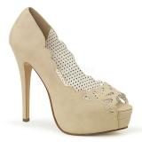 Creme Similicuir 13,5 cm BELLA-30 chaussures escarpins bout ouvert