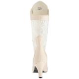 Creme Similicuir 7,5 cm DIVINE-1050 grande taille bottines femmes