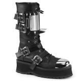 Cuir Vegan GRAVEDIGGER-250 bottes à cap d acier - bottes de combat demonia