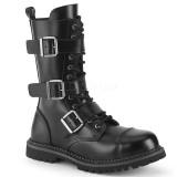 Cuir véritable RIOT-12BK bottes à cap d acier - bottes de combat demonia