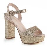 Dorée 11,5 cm CELESTE-09 sandales à talon carré et plateforme glitter