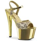 Dorée 18 cm Pleaser SKY-310SQ chaussures à talons paillettes