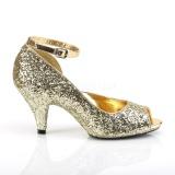 Dorée Etincelle 7,5 cm BELLE-381G chaussures escarpins bout ouvert