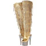 Dorée Similicuir 18 cm BEJRSF-7 bottes a frangees pour femmes a talon