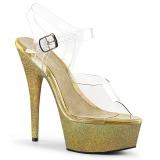 Dorée paillettes 15 cm Pleaser DELIGHT-608HG chaussure à talons de pole dance