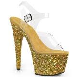 Dorée paillettes 18 cm Pleaser ADORE-708LG chaussure à talons de pole dance