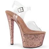 Dorée paillettes 18 cm Pleaser SKY-308LG chaussure à talons de pole dance