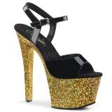 Dorée paillettes 18 cm Pleaser SKY-309LG chaussure à talons de pole dance