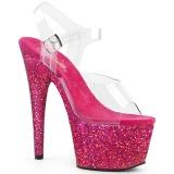 Fuchsia paillettes 18 cm Pleaser ADORE-708LG chaussure à talons de pole dance