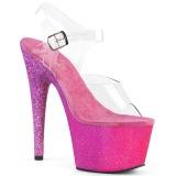 Fuchsia paillettes 18 cm Pleaser ADORE-708OMBRE chaussure à talons de pole dance