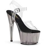 Gris transparent 18 cm ADORE-708T chaussures de striptease