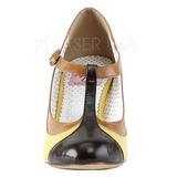 Jaune 8 cm retro vintage PEACH-03 Pinup escarpins femmes à talons bas