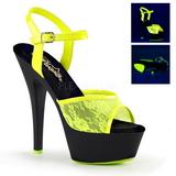 Jaune tissu en dentelle 15 cm KISS-209ML Plateforme Sandales Femmes Neon