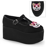 Kitty toile 8 cm CLICK-04-1 plateforme chaussures lolita