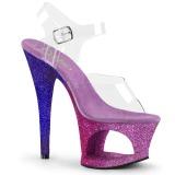 Lavande paillettes 18 cm Pleaser MOON-708OMBRE chaussure à talons de pole dance