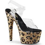 Leopard 18 cm BEJEWELED-708LP Chaussures pour femmes talon pierres scintillantes