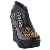 Leopard Similicuir CREEPER-306 chaussures creepers compensées
